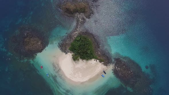 Cover Image for Idyllic Paradise Virgin Unspoiled Tropical Island Aerial drone View
