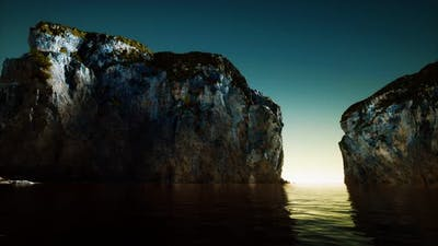 Rocky Cliff at Cold Sea Water