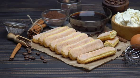 Cover Image for Tiramisu Cake Cooking - Savoiardi Ladyfingers Biscuits, Cheese and Coffee