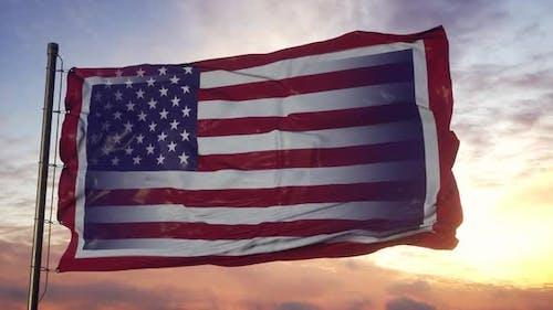 Wyoming and USA Flag on Flagpole