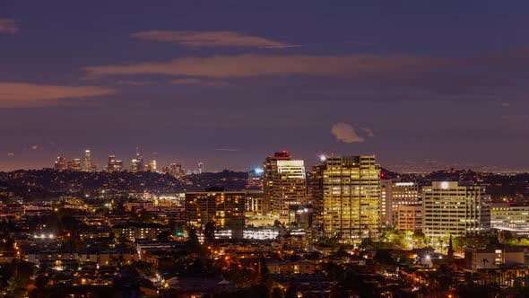 Thumbnail for Time Lapse of Glendale California skyline at night with Los Angeles in the background