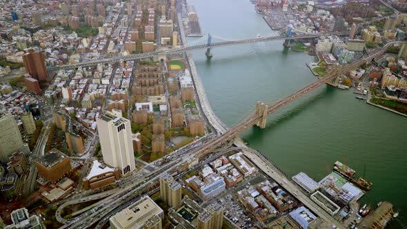 Thumbnail for Aerial Shot of New York City Skyline Cityscape in Financial Business District