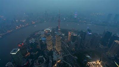 Shanghai, China, Timelapse  - Shanghai Day to Night from Shanghai Tower