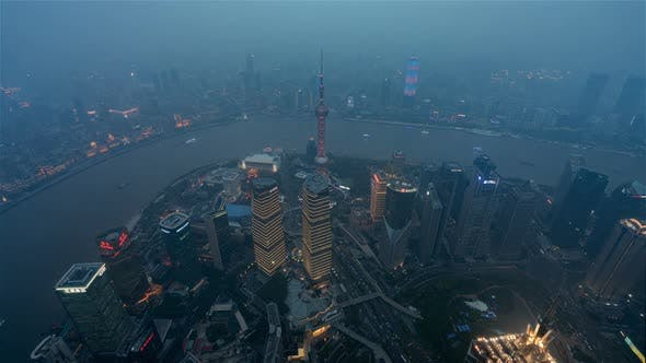Thumbnail for Shanghai, China, Timelapse  - Shanghai Day to Night from Shanghai Tower