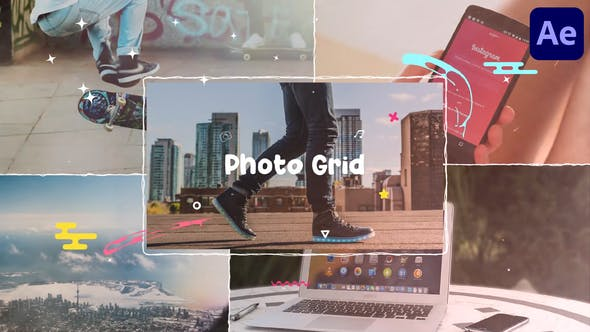 Cartoon Photo Grid   After Effects