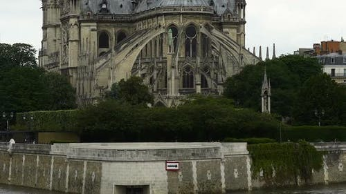 East Side of Notre-Dame Cathedral, Gothic Style Architecture