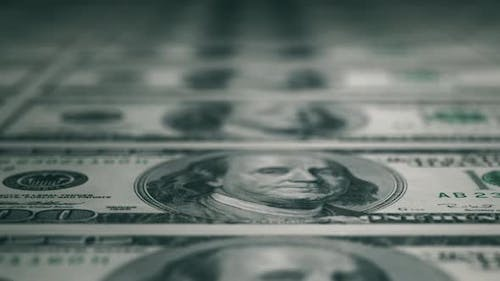 Close-up Shot in Macro Lens From American One Hundred Dollars Banknote. An Abstract of One Hundred