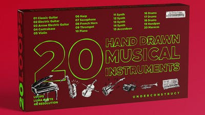 20 Hand drawn musical instruments