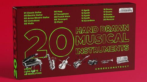 20 instruments de musique dessinés à la main