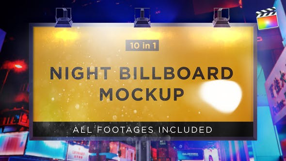 Night Billboard Mockup | For Final Cut & Apple Motion