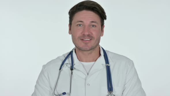 Thumbnail for Video Chat By Serious Male Doctor, White Background