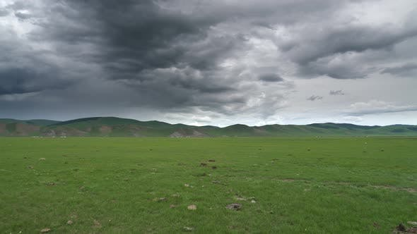 Thumbnail for Flat Central Asian Meadow in Dark Overcast Cloudy Weather