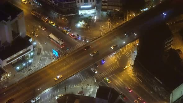 Thumbnail for Urban traffic in the night metropolis. view from above