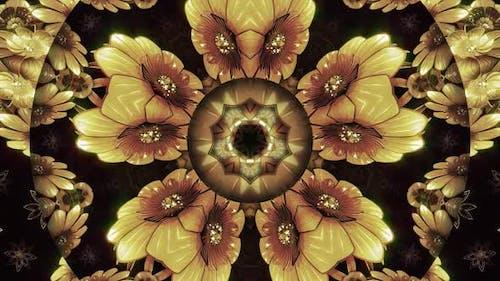 Golden Flowers Kaleidoscope