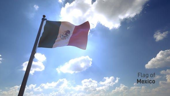 Mexico Flag / Mexican Flag on a Flagpole V4