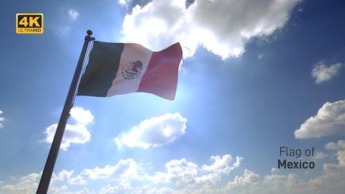 Mexico Flag / Mexican Flag on a Flagpole V4 - 4K