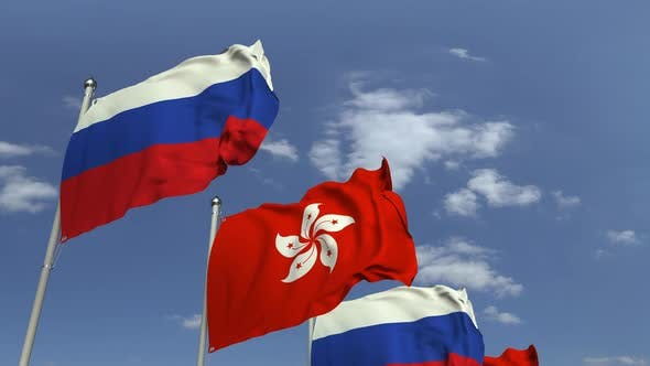 Thumbnail for Row of Waving Flags of Hong Kong and Russia