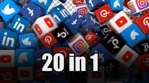 Social Media Icons Transition Pack (Pack of 20)