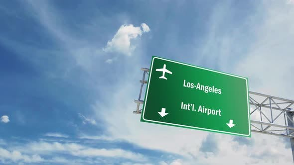 Airport Sign. Los Angeles Airplane Passing Overhead