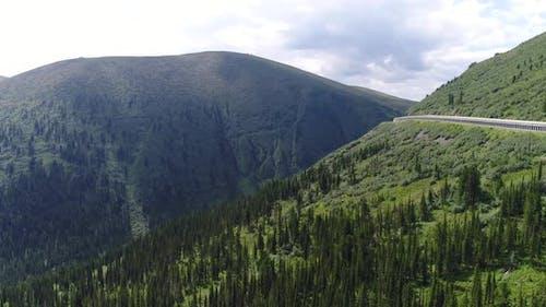 Road to Nature park Ergaki in Siberia