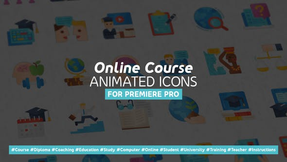Online Course Modern Flat Animated Icons – Mogrt