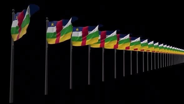 Row Of Central African Republic Flags With Alpha 2K