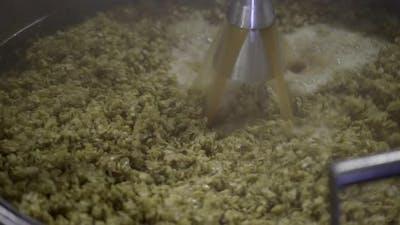 Brewery Worker Stirring Boiling Wort
