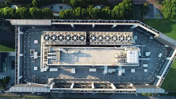 Aerial Top Down View of Ventilation and Air Conditioning Systems Installed on the Rooftop of a