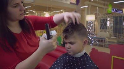 Hairdresser Cutting Hair in Hair Salon.