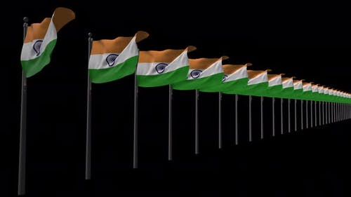Row Of India Flags With Alpha 4K