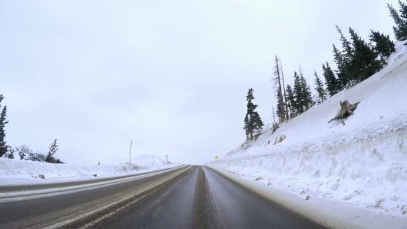 POV point of view - Driving over Loveland Pass in the winter.