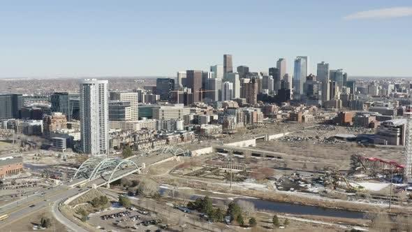 Denver Colorado Downtown Aerial Perspective Above City
