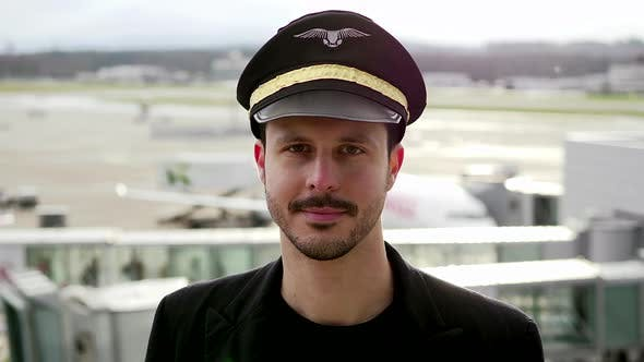 Thumbnail for Portrait of Professional Pilot in Uniform Succeed in Aviation Business