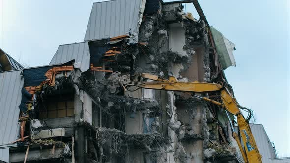 Thumbnail for Timelapse Excavator Destroys a Building. Falling Pieces of Concrete and Rebar, Demolition Work.