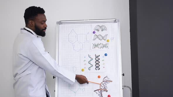 Doctor Lecturing and Explaining the Chemical Compounds on the Poster in the Hospital Cabinet