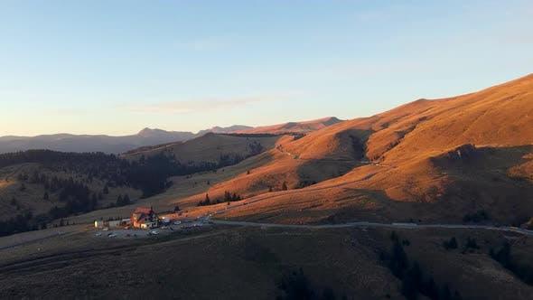 Bucegi Mountain Pass Scenery Luftaufnahme