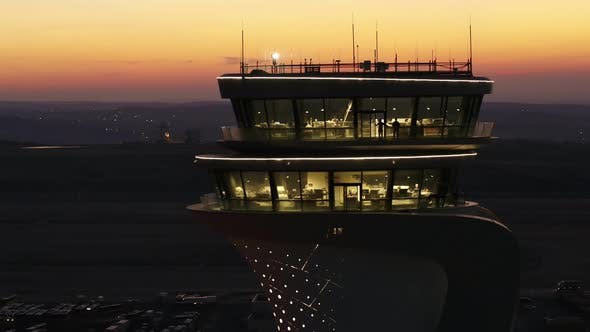 Thumbnail for Airport Tower At Sunset Aerial View 3