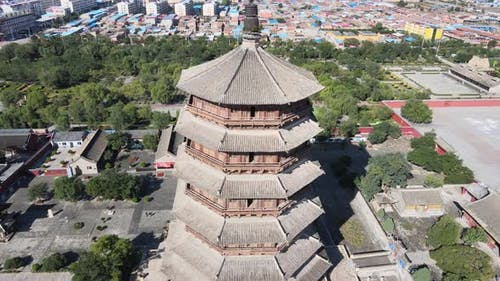 Wooden Pagoda in China, Famous Landmark Building