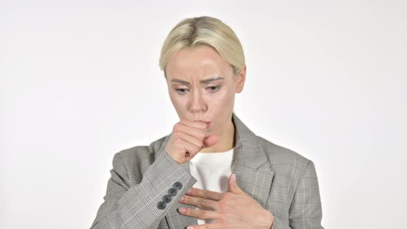 Thumbnail for Sick Businesswoman Coughing on White Background