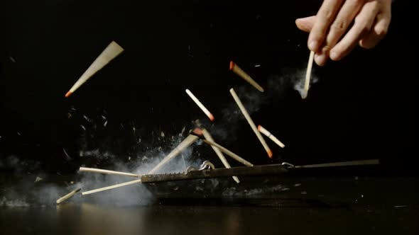 Thumbnail for Dropping matches into a mousetrap, Ultra Slow Motion