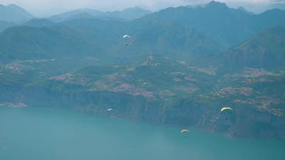 Garda Lake with Beautiful Mountains in the Mist