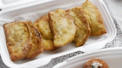 Traditional Turkish Byrak Dumplings Stuffer with Meat