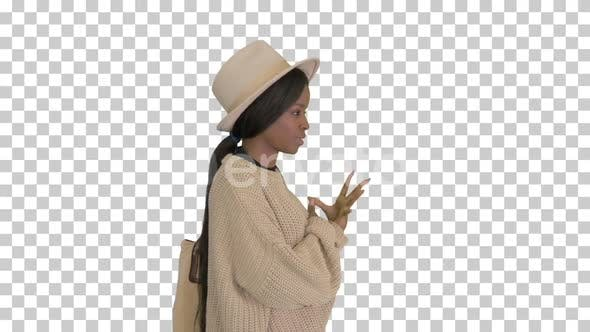 Thumbnail for Young african american woman in knitwear, Alpha Channel