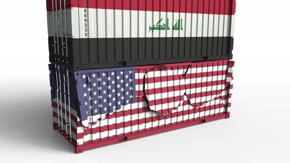 Container with Flag of Iraq Breaks Container with Flag of the USA