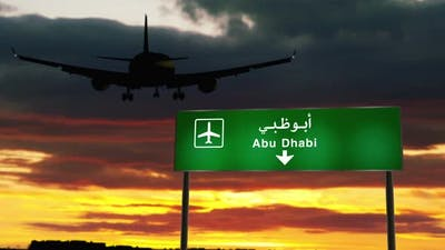 Plane landing in Abu Dhabi United Arab Emirates, UAE airport