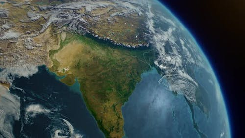 Cinematic Realistic Planet Earth Rotation of Asia India Part From Space