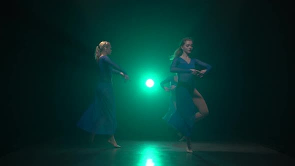 Thumbnail for Females with Beautiful Figures Are Dancing Elements of Modern Ballet
