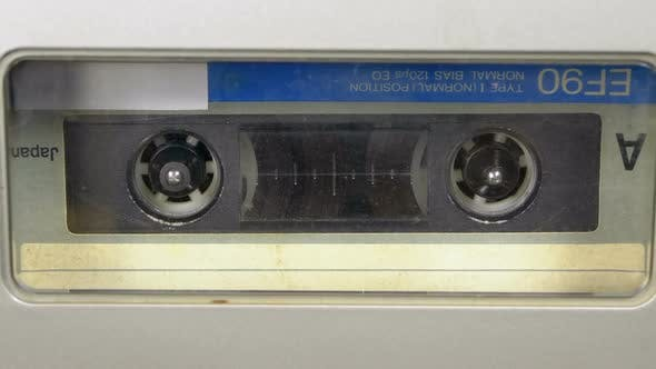 Thumbnail for Tape Recorder Plays Audio Cassette Inserted Therein. Vintage Audio Tape