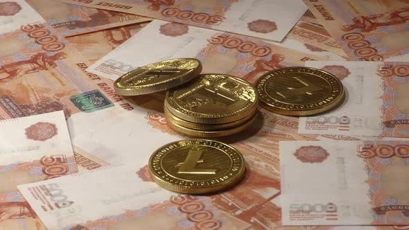 Lightcoins LTC Rotating on Bills of 5000 Russian Rubles. Worldwide Virtual Internet Cryptocurrency