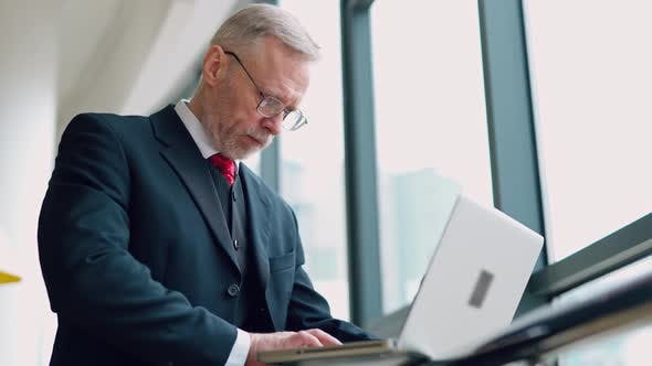 Thumbnail for Senior serious businessman standing near window